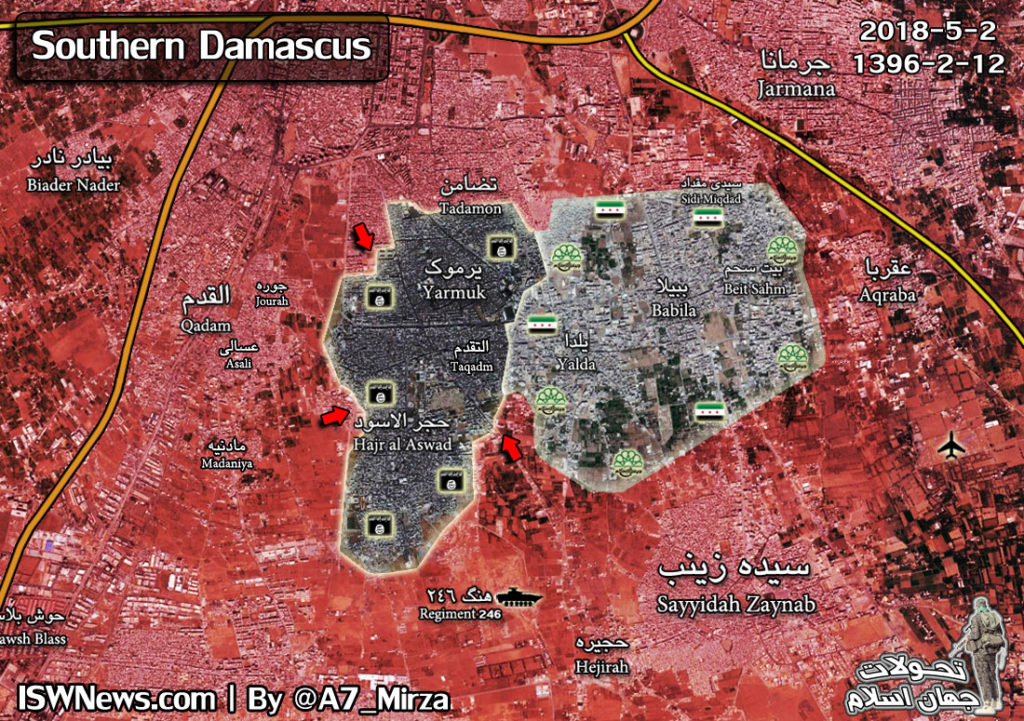 Map Update: Military Situation In Southern Damascus On May 2, 2018