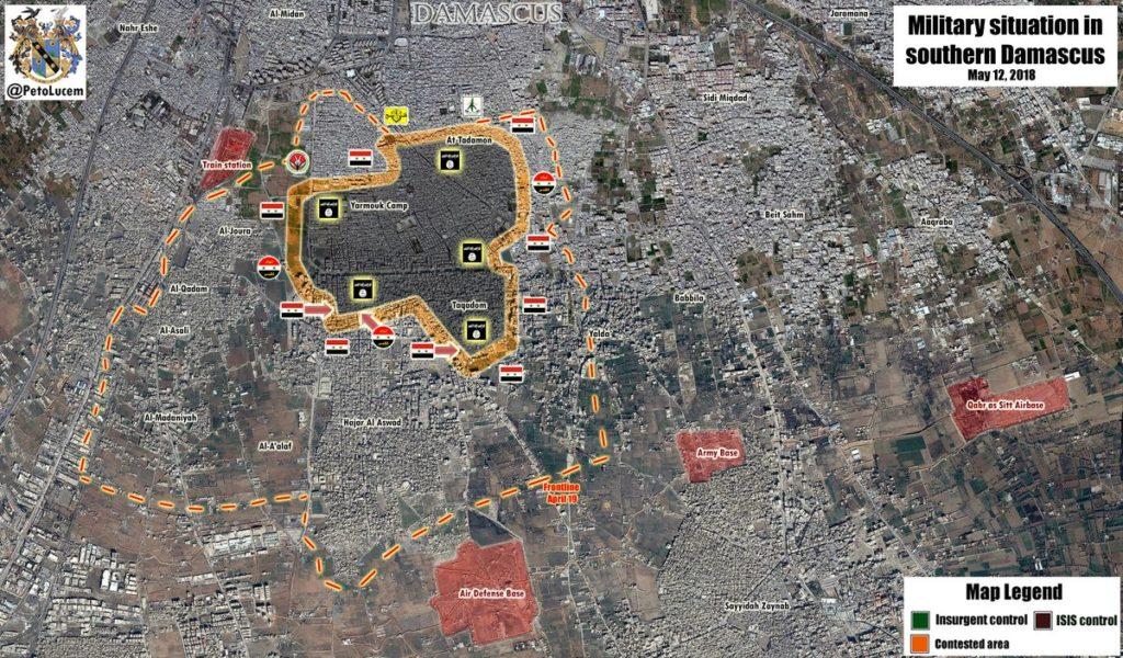 地図、ビデオ:南部ダマスカスでISISに対する政府軍の進展