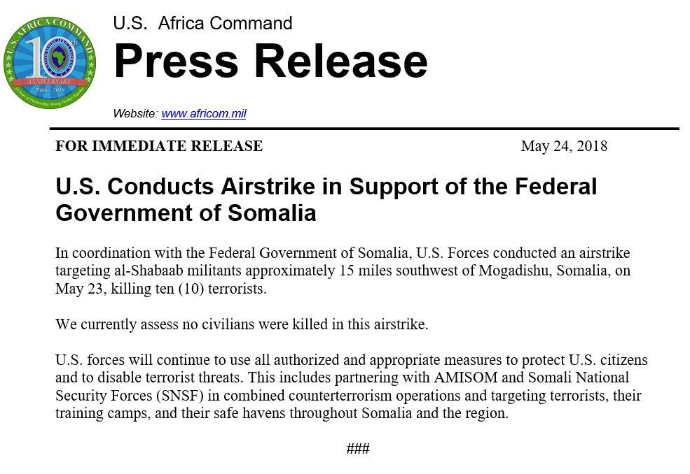 US Airstrike Kills Ten Fighters of Al-Shabaab In Somalia