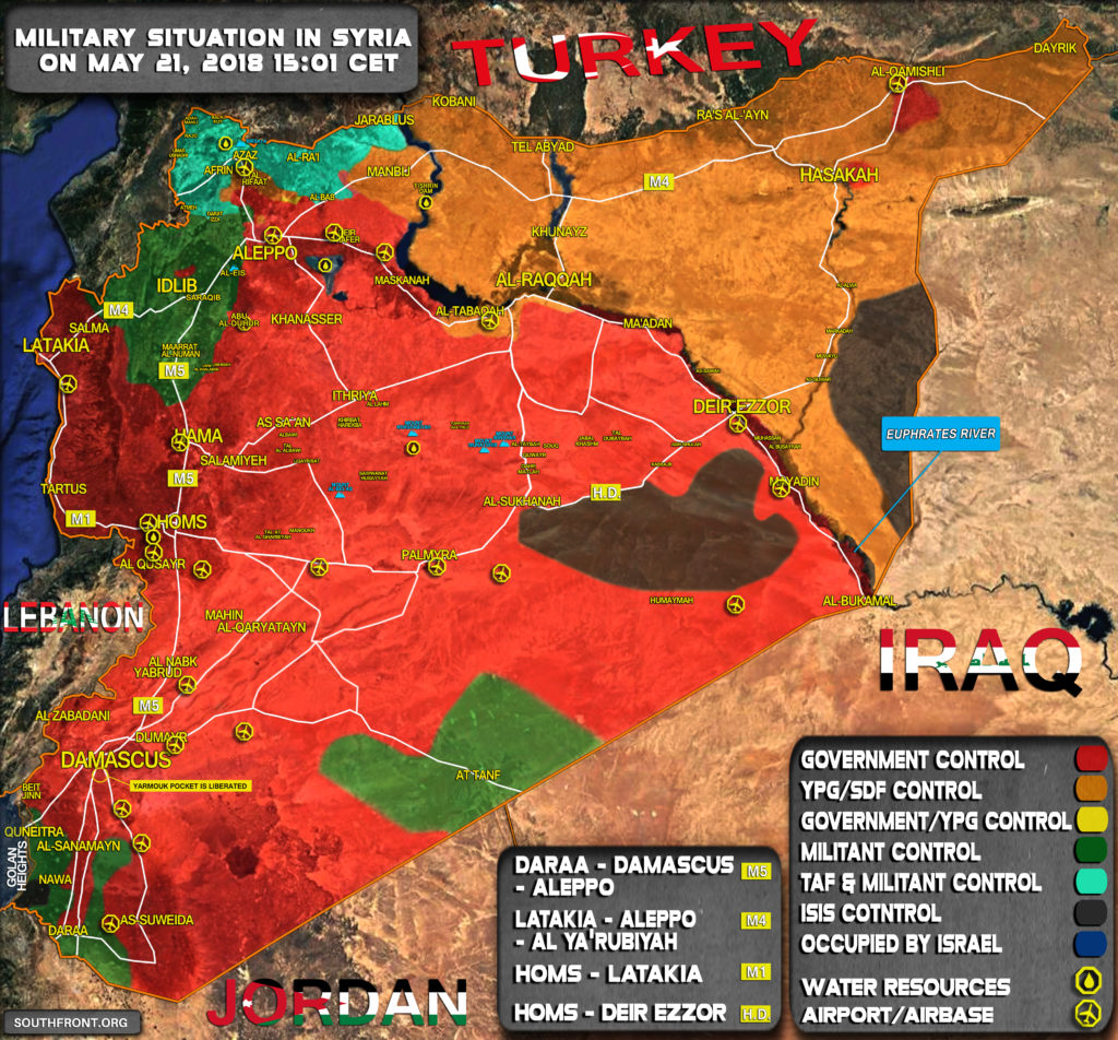 Military Situation In Syria On May 21, 2018 (Map Update)