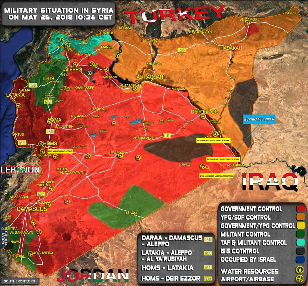 Map Update: Reported Israeli, US Airstrikes On Syria On May 24