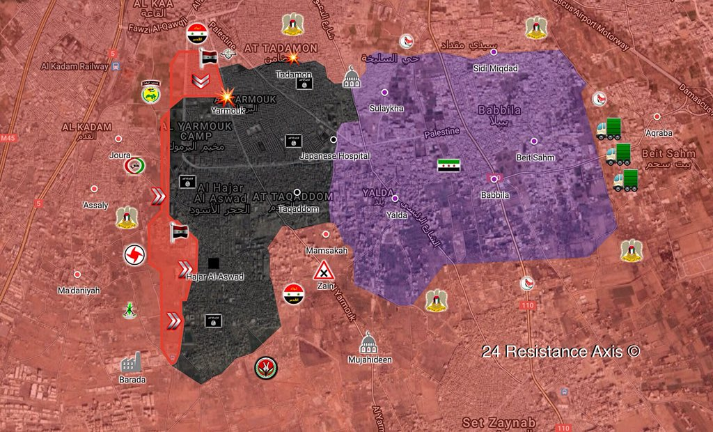 Syrian Army Enters Northern Part Of Yarmouk Camp In Course Of Its Anti-ISIS Operation In Southern Damascus