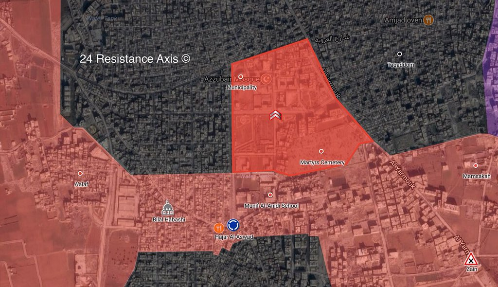 Syrian Army Makes Gains In ISIS-held District Of al-Hajar al-Aswad In Southern Damascus (Map)