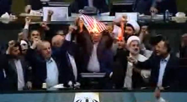 Video: Iranian Lawmakers Burning US Flag Following Trump's Announcement Of Iran Nuclear Deal Withdrawal