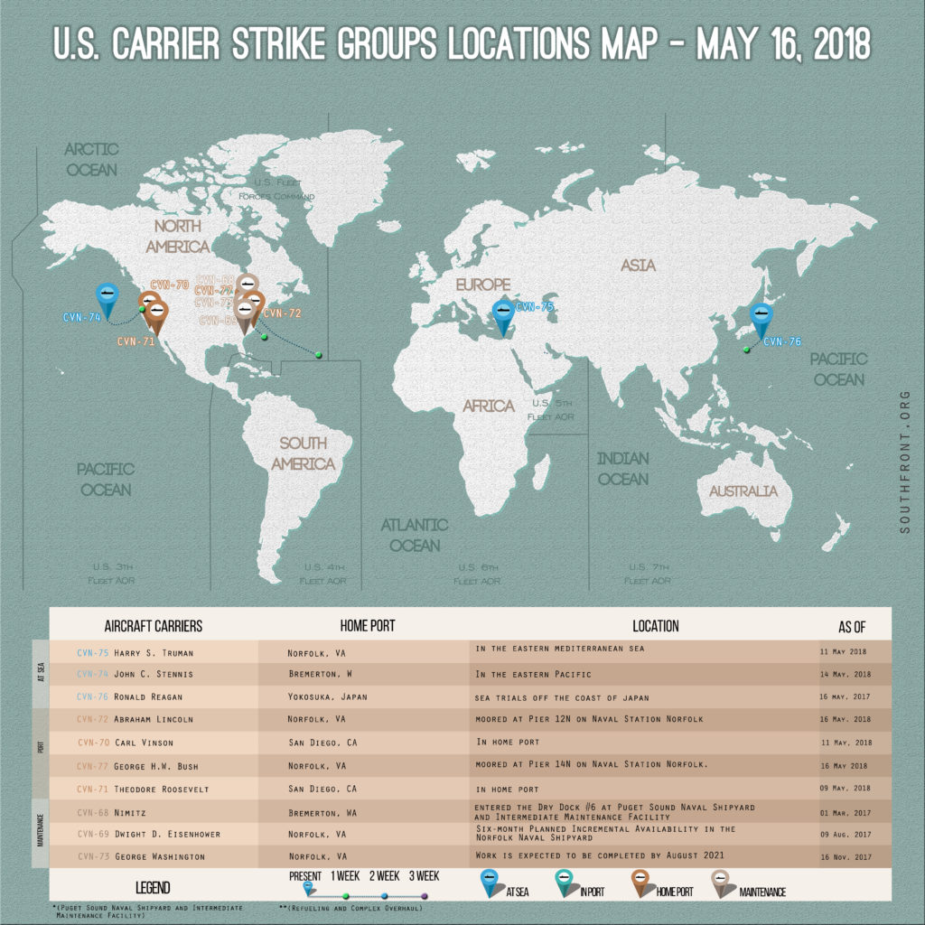 US Carrier Strike Groups Locations Map – May 16, 2018