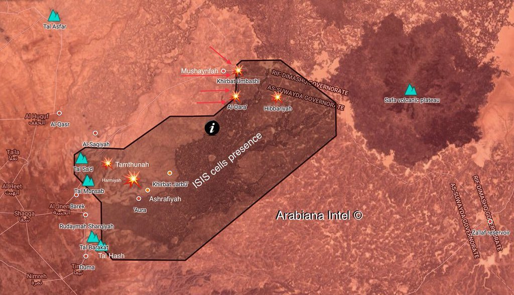 Warplanes Strike ISIS Positions In Eastern Al-Suwayda Supporting Syrian Army's Advance