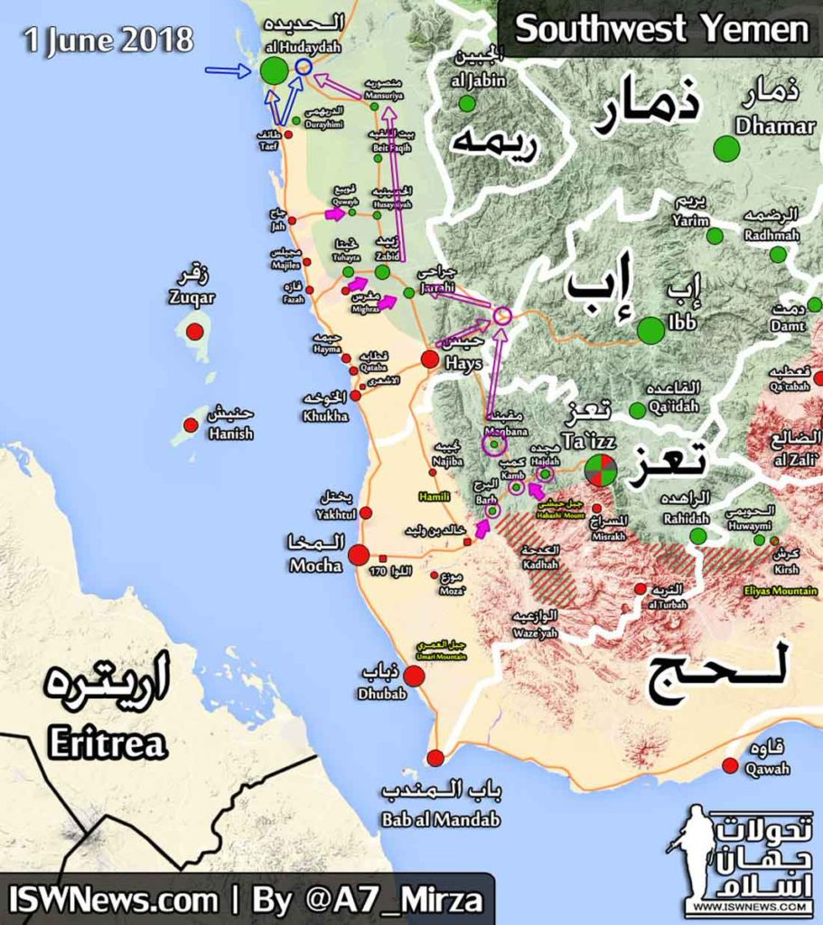 Map Update: Saudi-led Forces Fail To Reach Hudaydah After Their Attack Repelled By Houthis