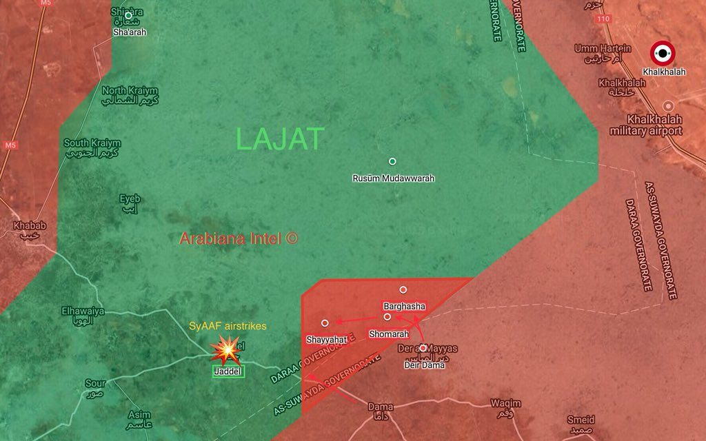 In Maps: Tiger Forces Pressure Militants In Lajat District In Northeastern Daraa