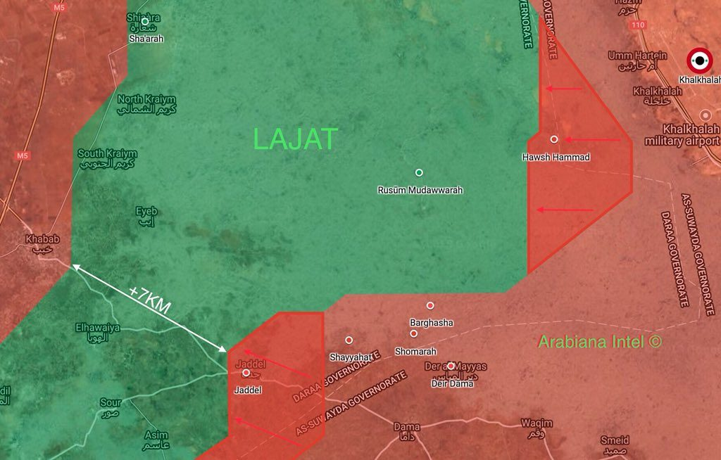 Tiger Forces Regain Two More Villages From Militants In Lajat District In Daraa Province (Map)