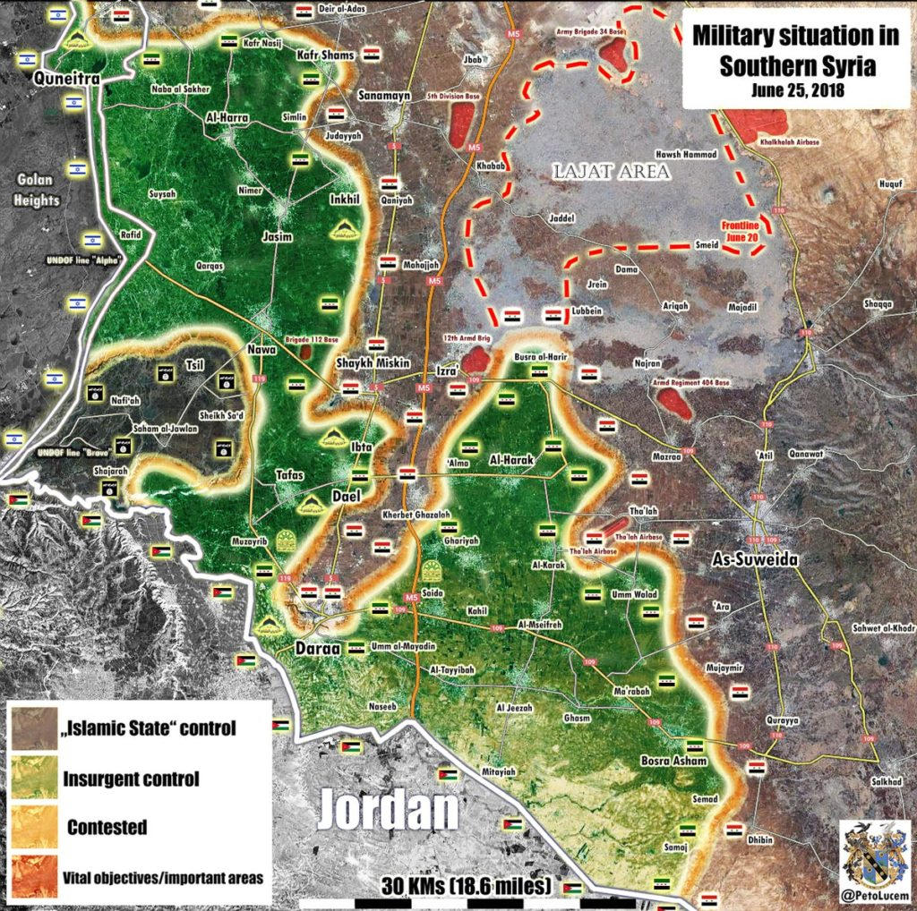 Map Update: Military Situation In Southern Syria Following Liberation Of Lajat District