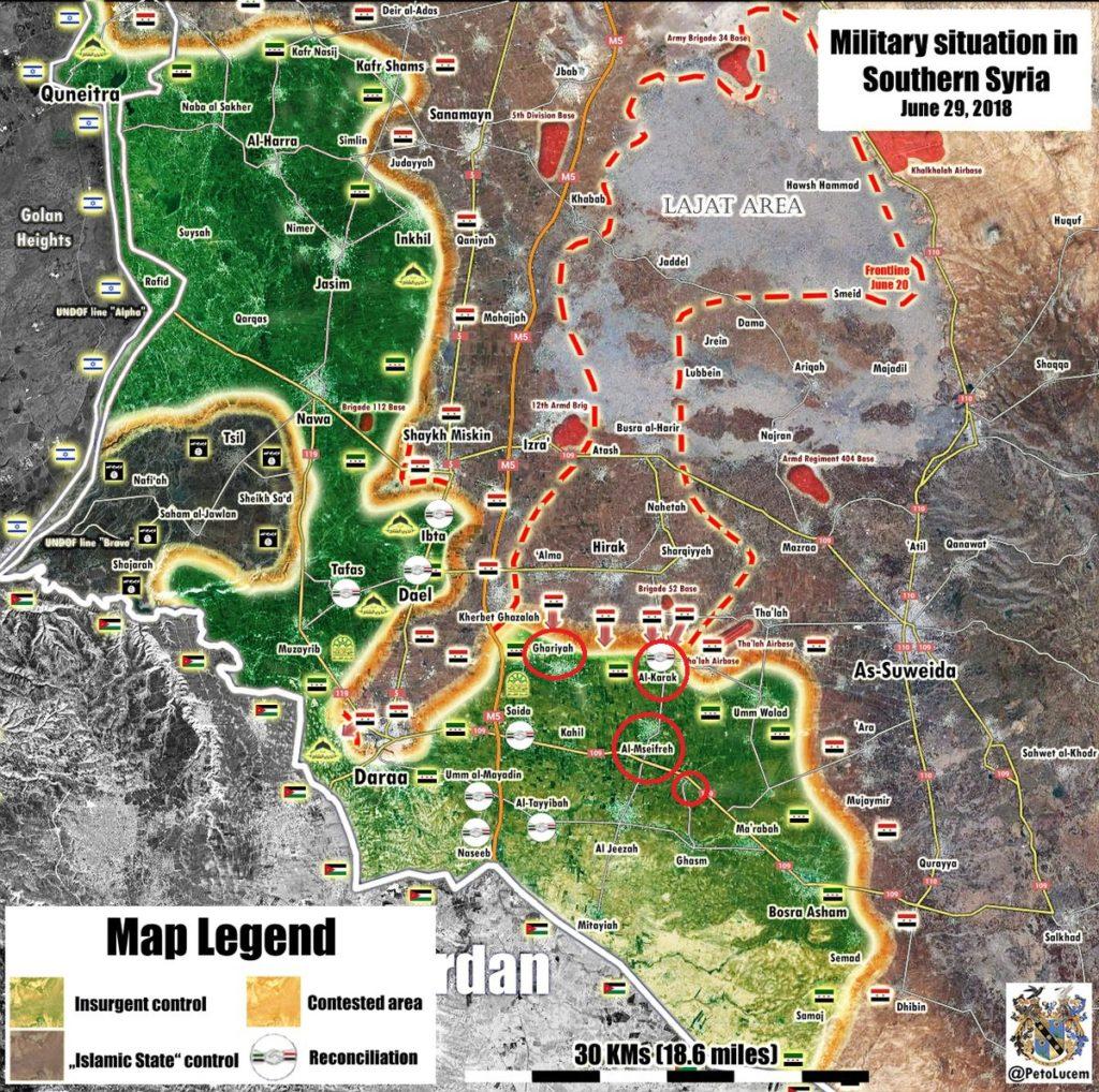 政府は、南シリアで過激派から5つの村を解放する(地図更新)