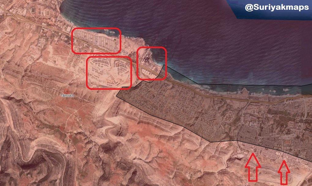 Dernaの武装勢力の防衛は、LNAからの圧力の下でゆっくりと崩壊している(地図)