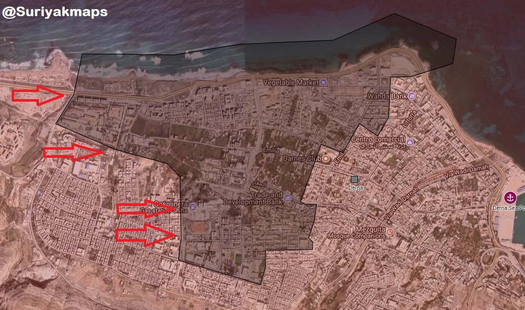 Libyan Nation Army Captures Two Key District In Central Derna (Map, Video)