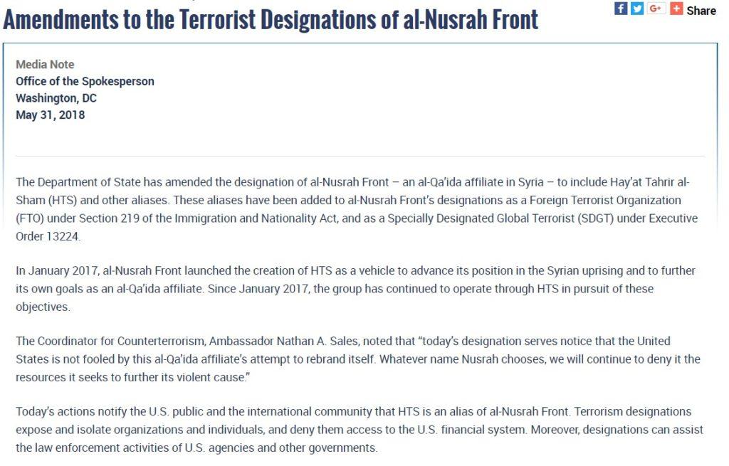 U.S. 'Surprisingly' Finds That Al-Qaeda In Syria Renamed To Hayat Tahrir al-Sham, Updates Terrorist Groups List