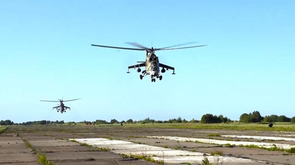 Russian Mi-24 And Mi-8 Military Helicopters Practice Hitting Targets (Video)