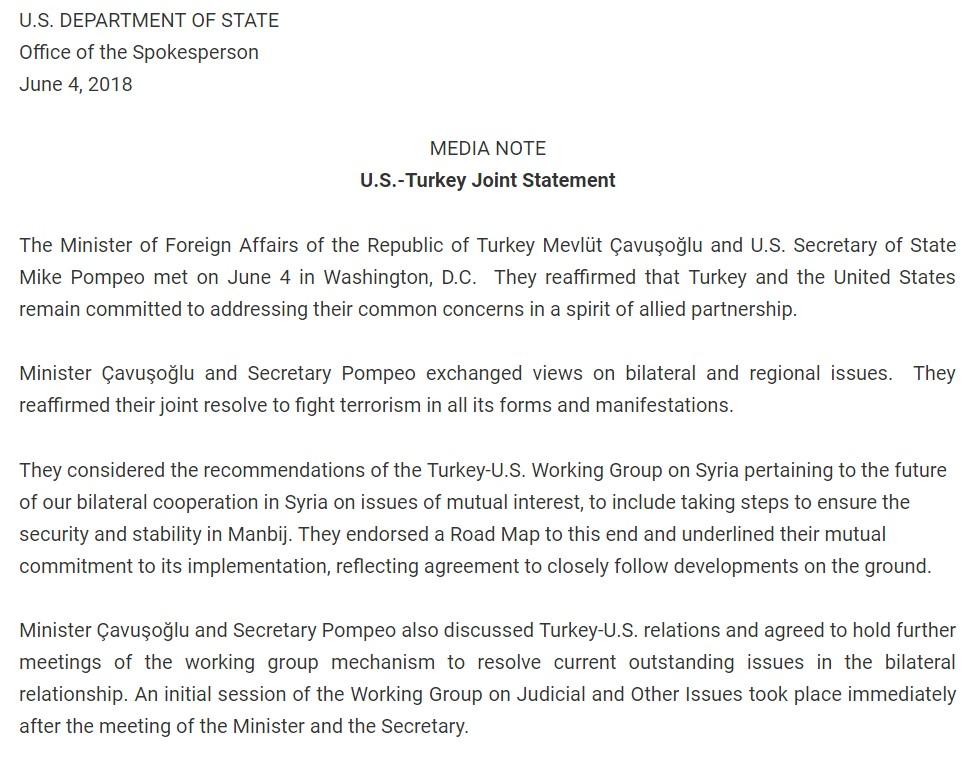Turkey, US Endorses Roadmap On 'Manbij Issue' In Northern Syria