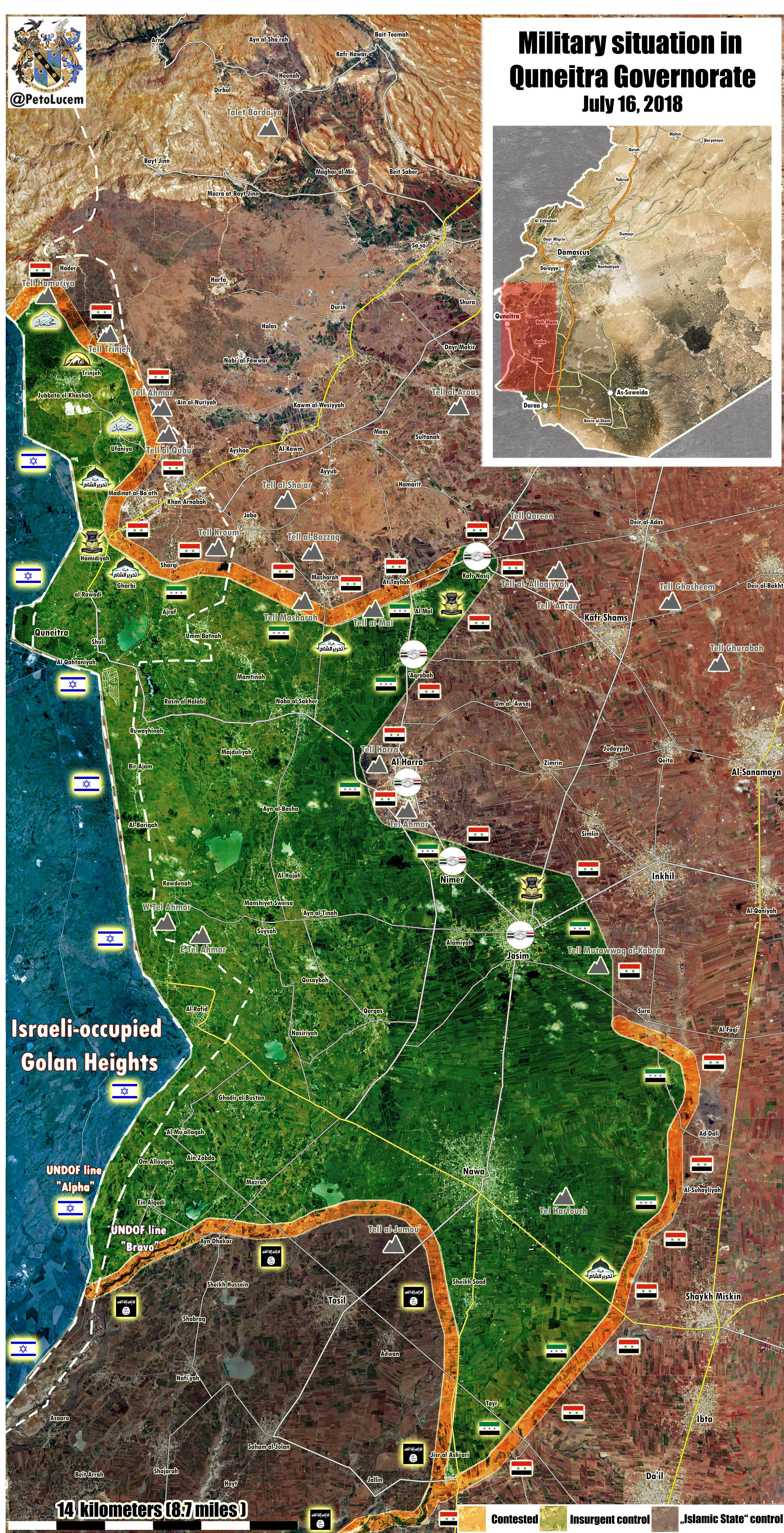 Map Update: Military Situation In Syria's Quneitra Province On July 16, 2018