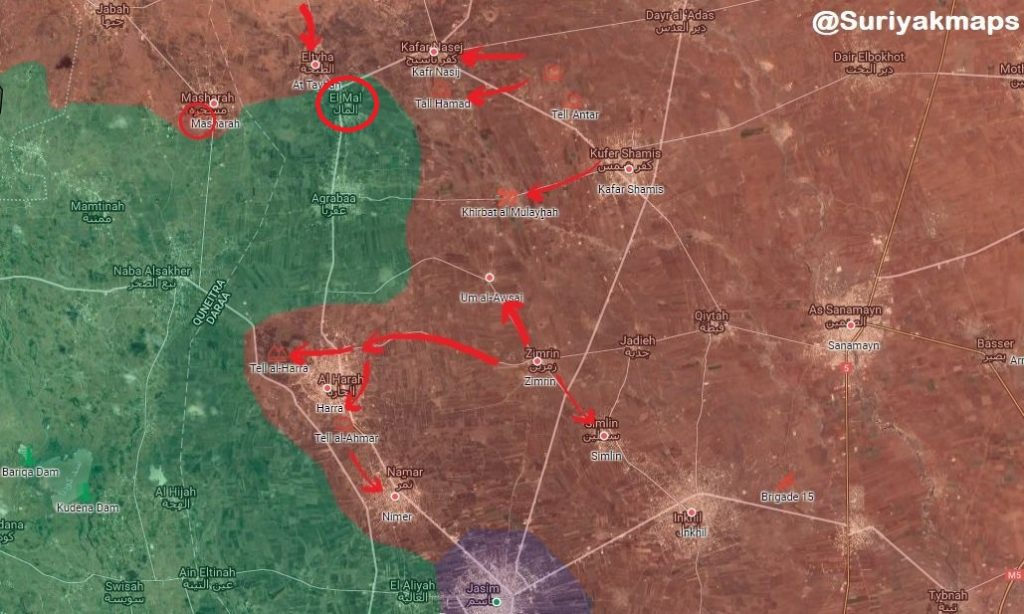 Government Troops Liberate al-Mal, Aqrabaa Villags And Nearby Points In Southern Syria (Map)