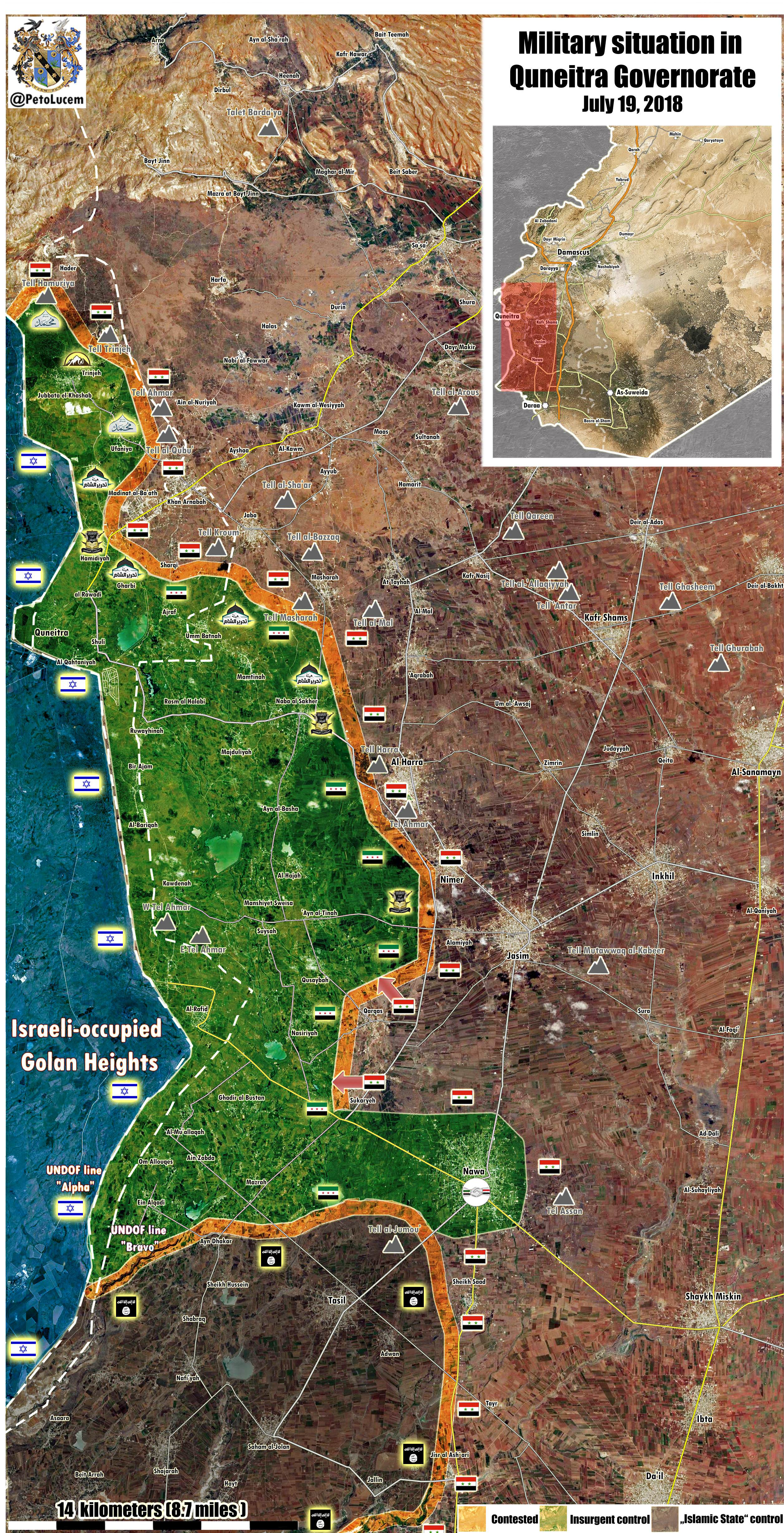 Map Update: Military Situation In Syria's Quneitra Province On July 19, 2018