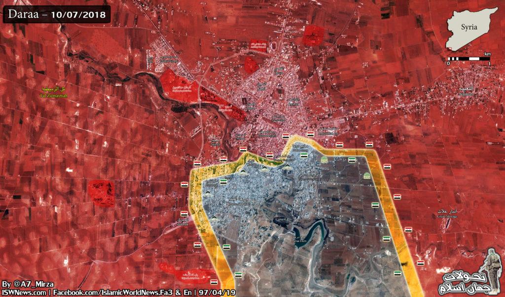 Militantných Skupín V Južnej Sýrii Vzdať Viac Zbraní Ako Vládne Sily Prístup Daraa Mesta Z Južného Smeru