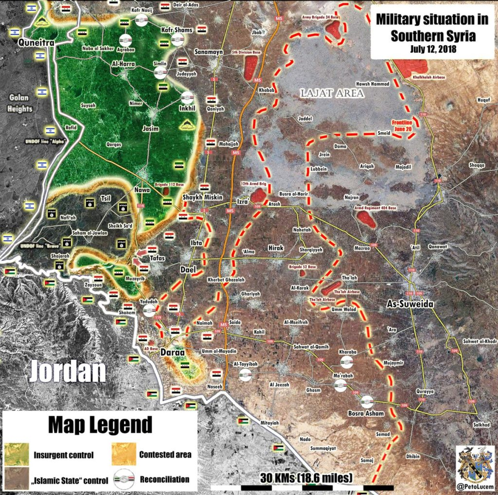 Map Update: Military Situation In Southern Province Of Daraa On July 12, 2018