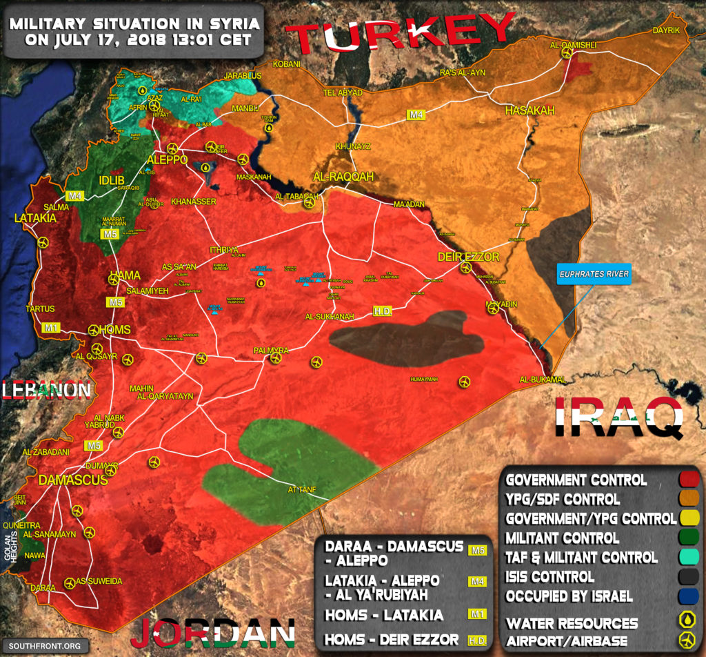 Map Update: Military Situation In Syria On July 17, 2018