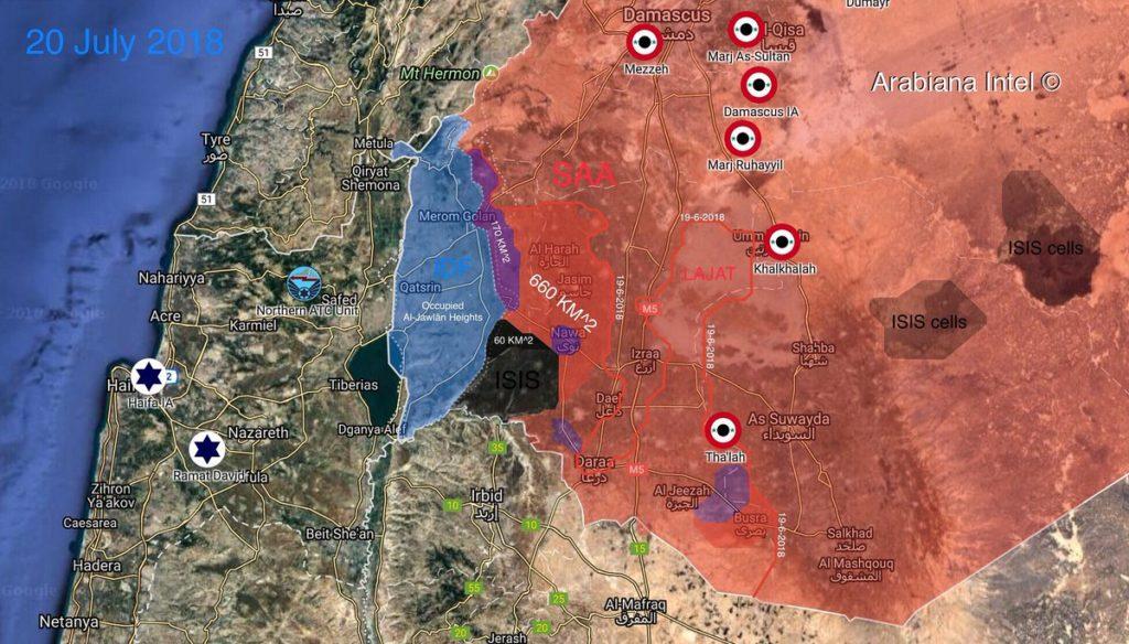 Len 60km2 Južnej Sýrii Pod Kontrolou Militantov, Sýrska Armáda Pokračuje v Predstihu (Mapy)