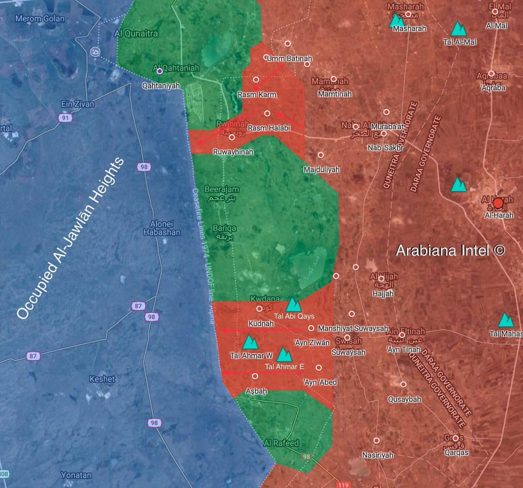 In Maps: Government Forces' Direct Control Of Villages And Towns East Of Golan Heights