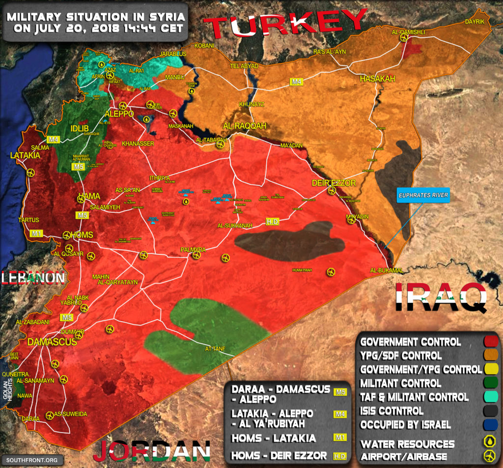 Military Situation In Syria On July 20, 2018 (Map Update)