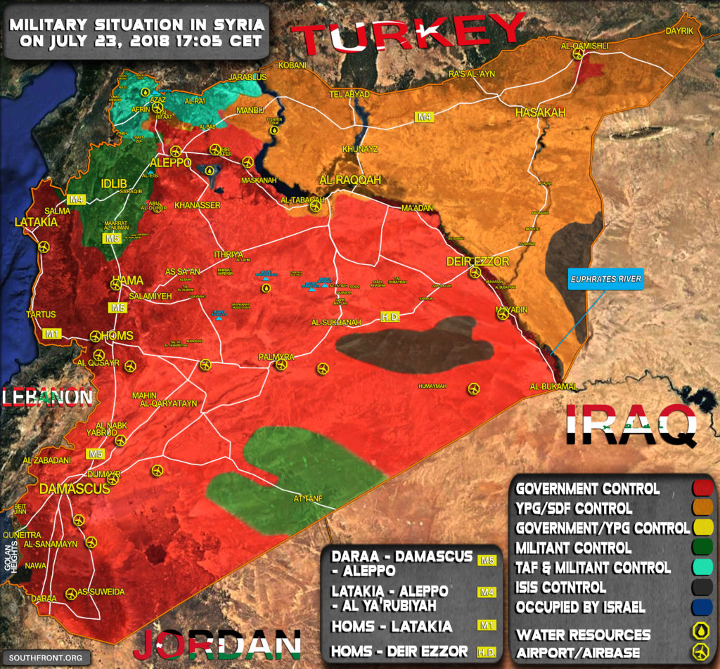 Military Situation In Syria On July 23, 2018 (Map Update)