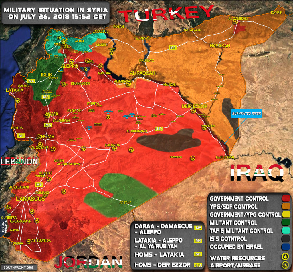 Military Situation In Syria On July 26, 2018 (Map Update)