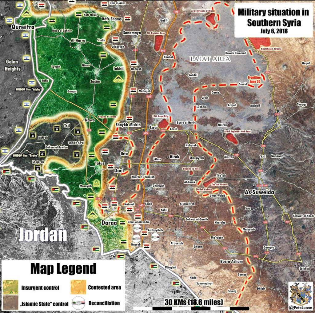 Map Update: Military Situation In Southern Syria After Liberation Of Nasib Border Crossing, Nearby Area