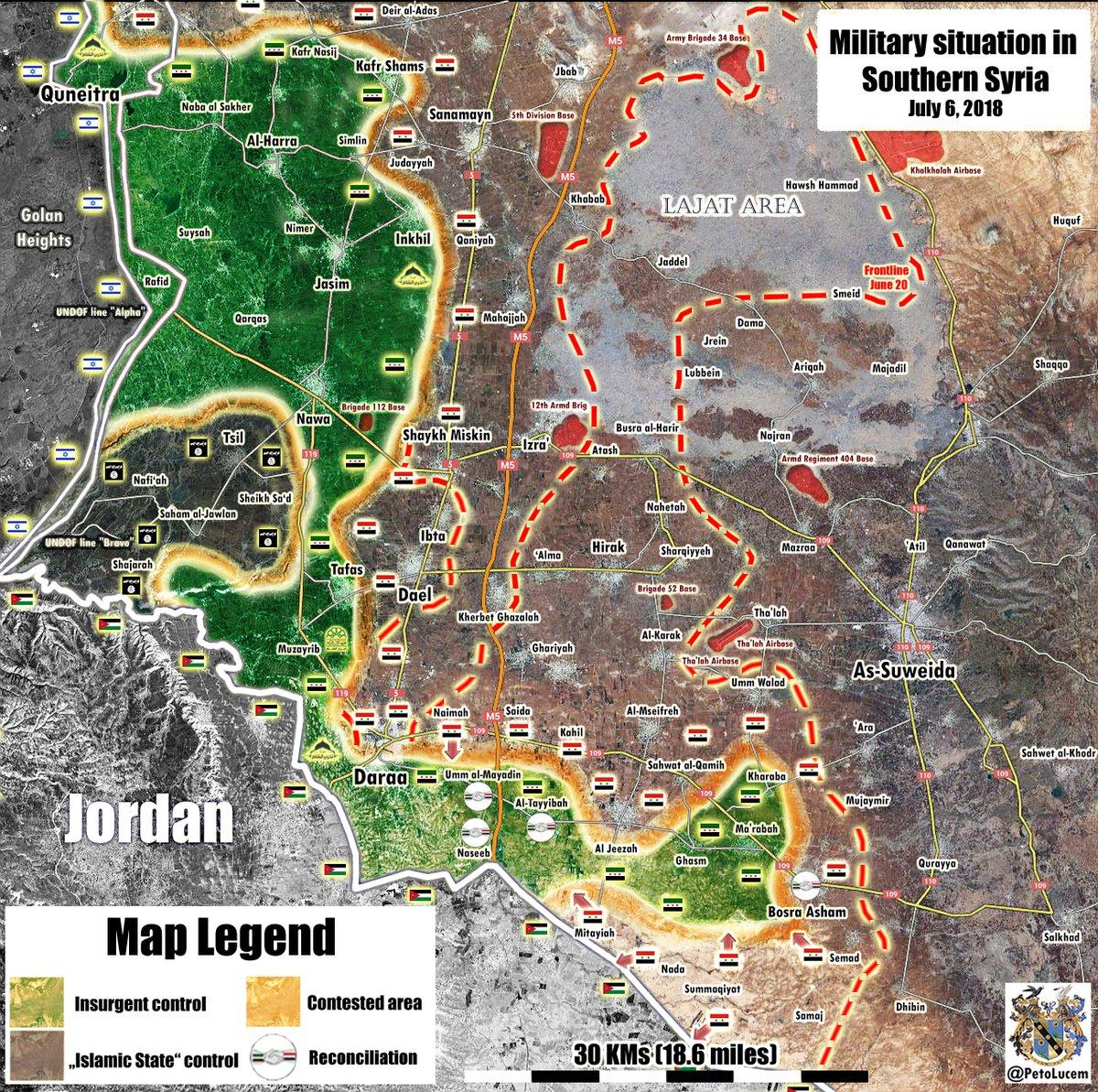 シリア軍、ヨルダンと国境を接してナシブ川を渡る