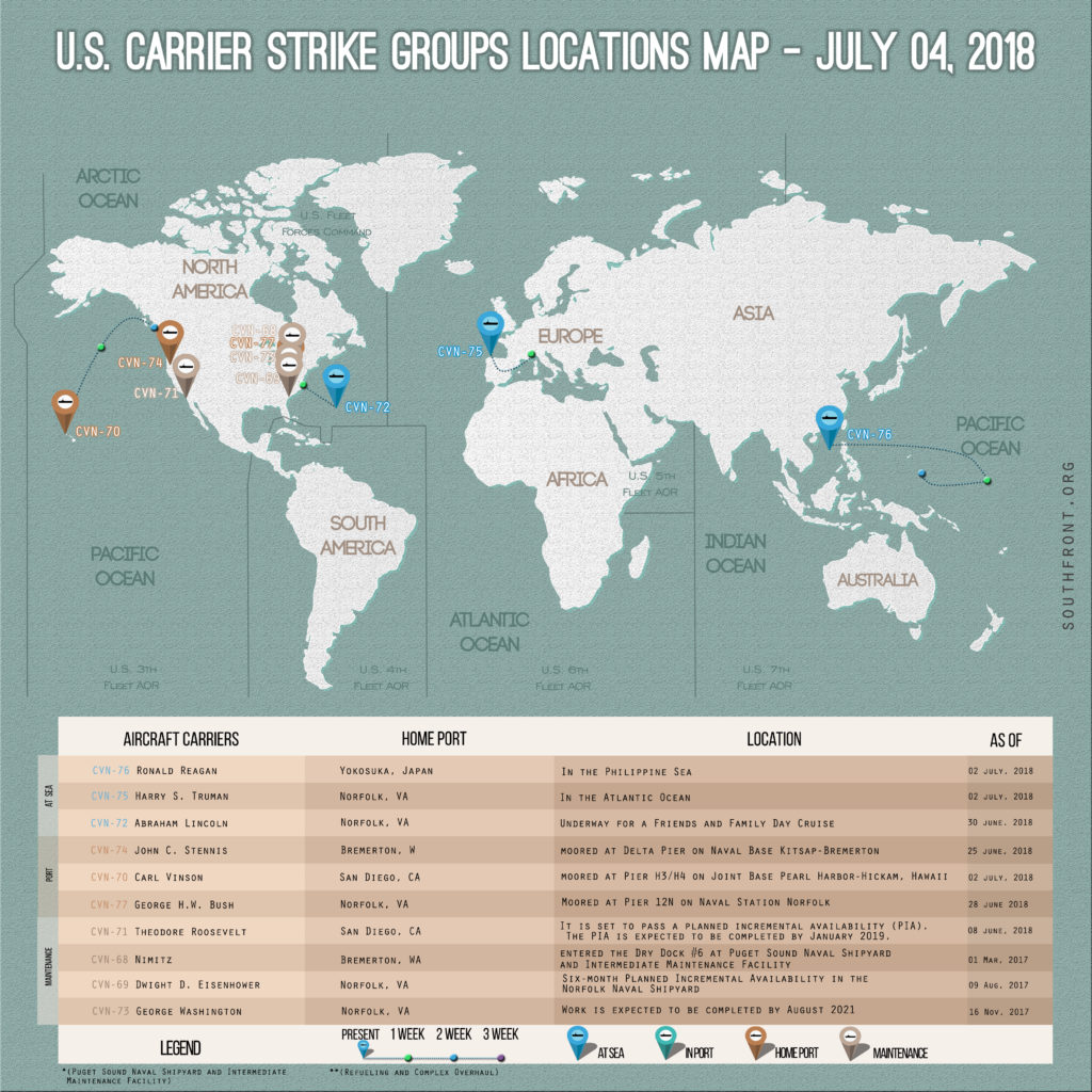 US Carrier Strike Groups Locations Map – July 4, 2018