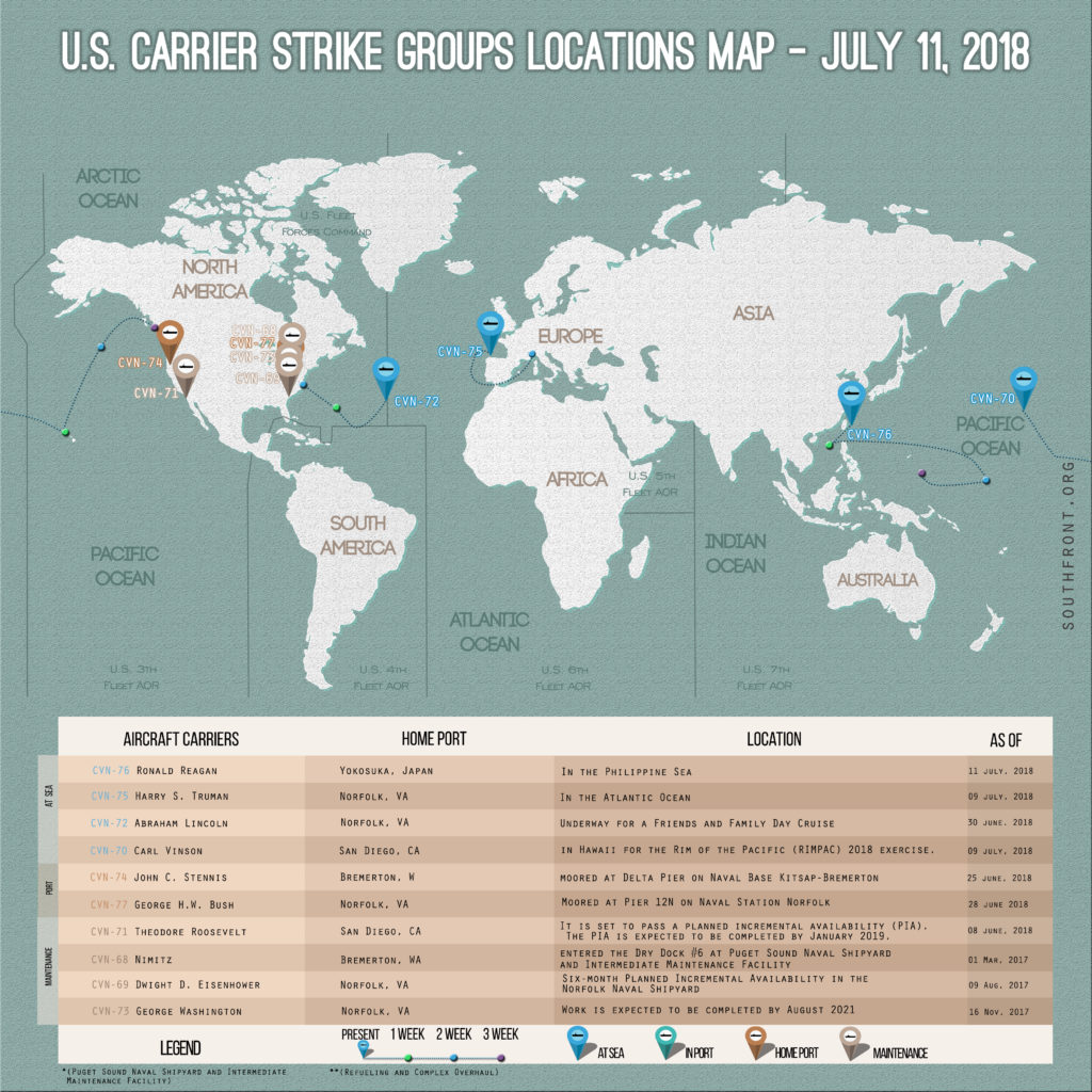US Carrier Strike Groups Locations Map – July 11, 2018