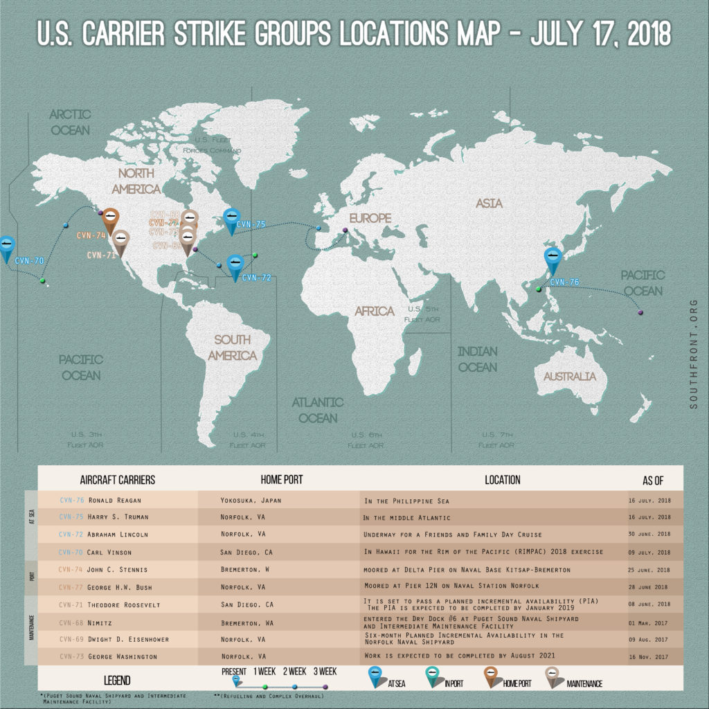 US Carrier Strike Groups Locations Map – July 17, 2018