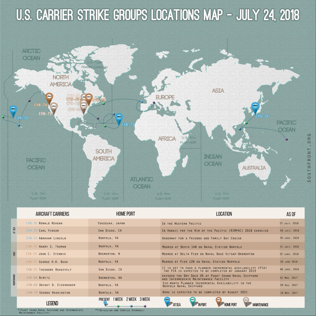 US Carrier Strike Groups Locations Map – July 24, 2018