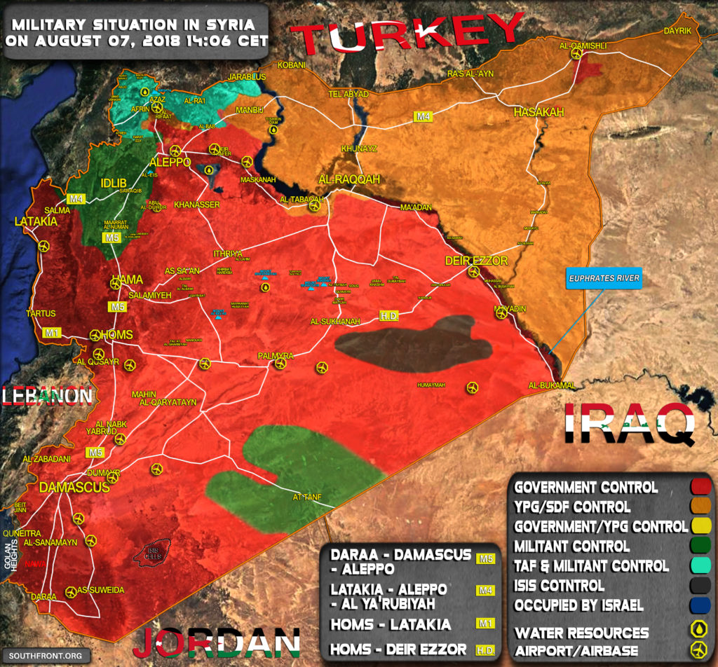 Military Situation In Syria On August 7, 2018 (Map Update)