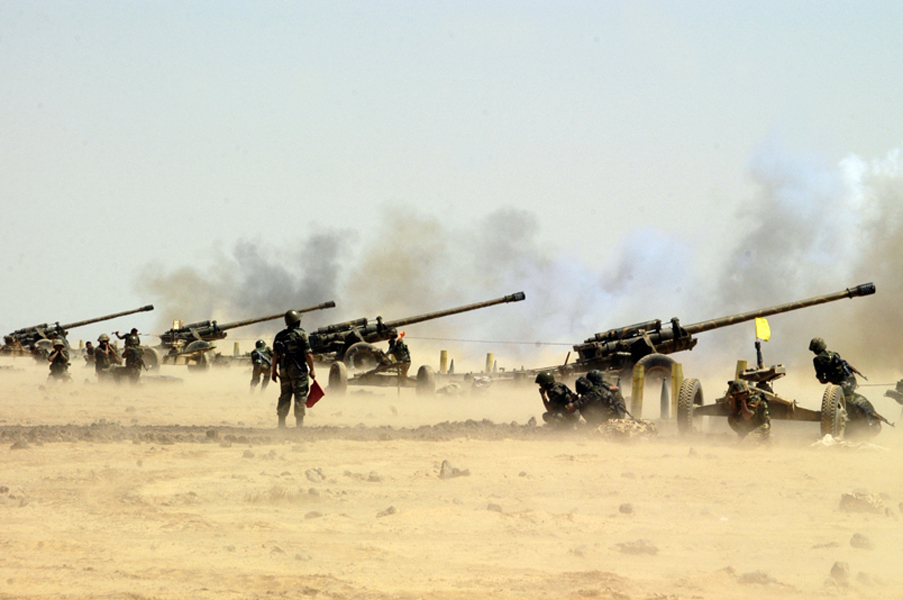 Syrian Army's Artillery Shell Militant Positions In Southern Idlib