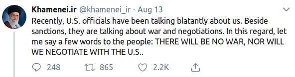"""The Saker: """"Iran's Reply: No War And No Negotiations"""""""