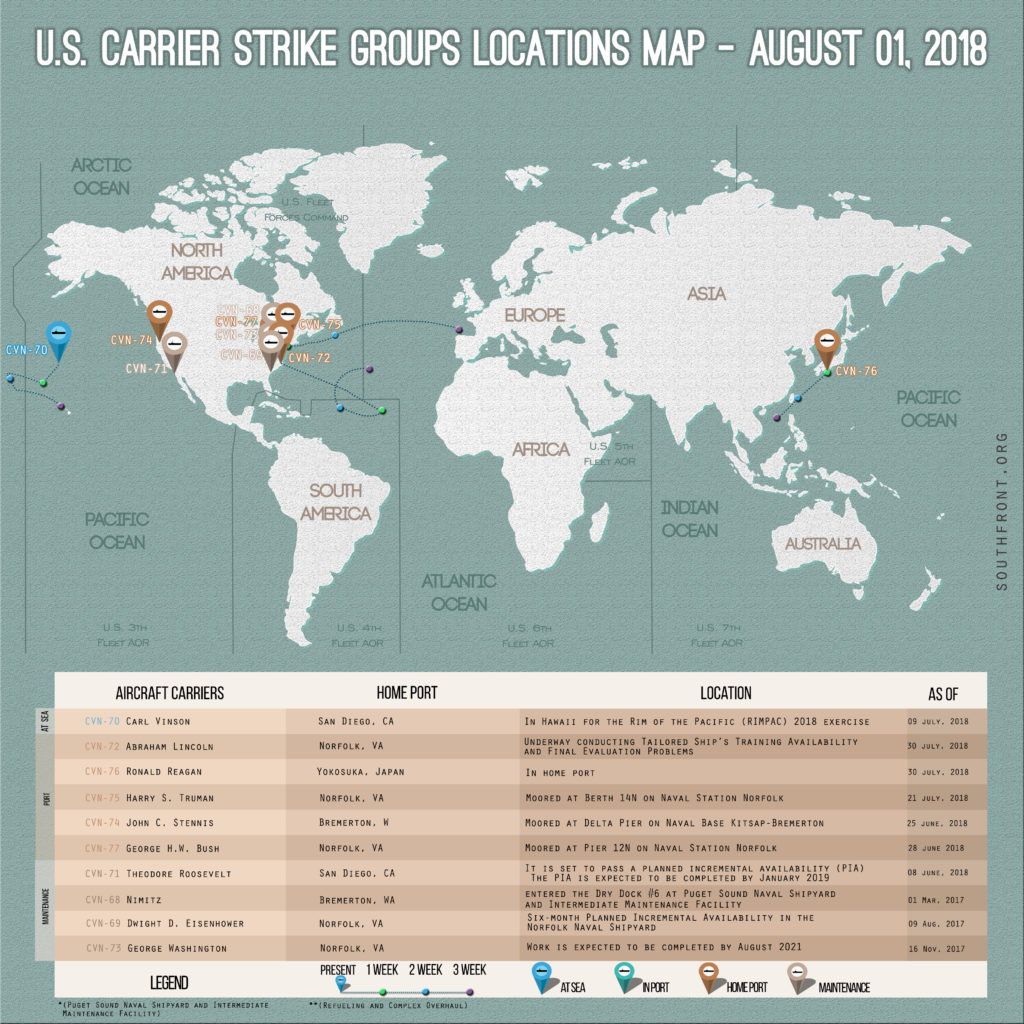 US Carrier Strike Groups Locations Map – August 1, 2018
