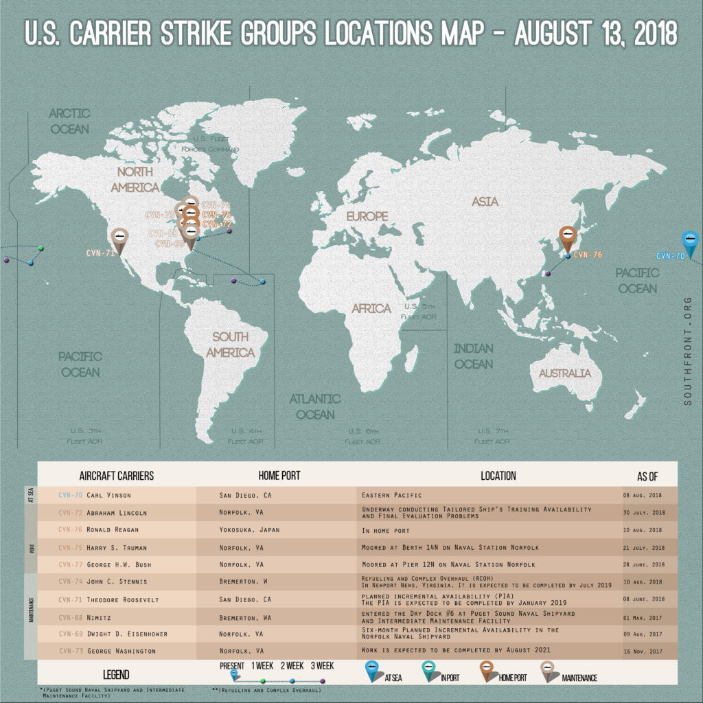 US Carrier Strike Groups Locations Map August 13, 2018
