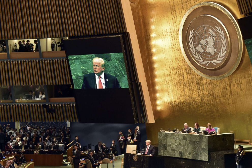 In UN Speech Trump Threatens Syria Wtih Strikes, Slams Iran, Boasts Of Accomplishments