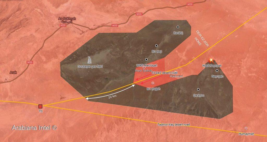 Sýrska Armáda sa Obnoví Jeho Operácia Proti ISIS Buniek V Homse-Deir Ezzor Desert (Mapa)