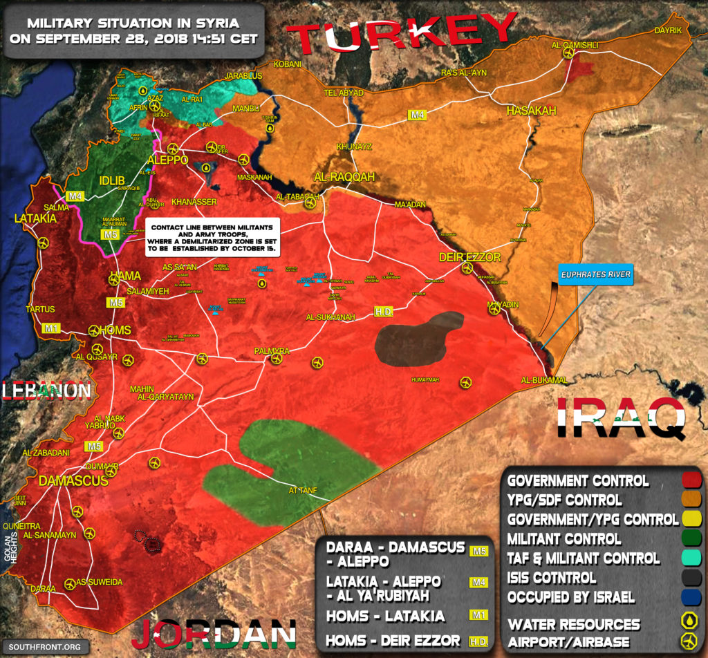 Map Update: Military Situation In Syria On September 28, 2018