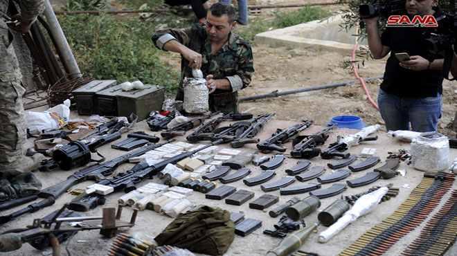 Syrian Security Forces Uncover Weapons Cache In Southern Damascus (Photos)