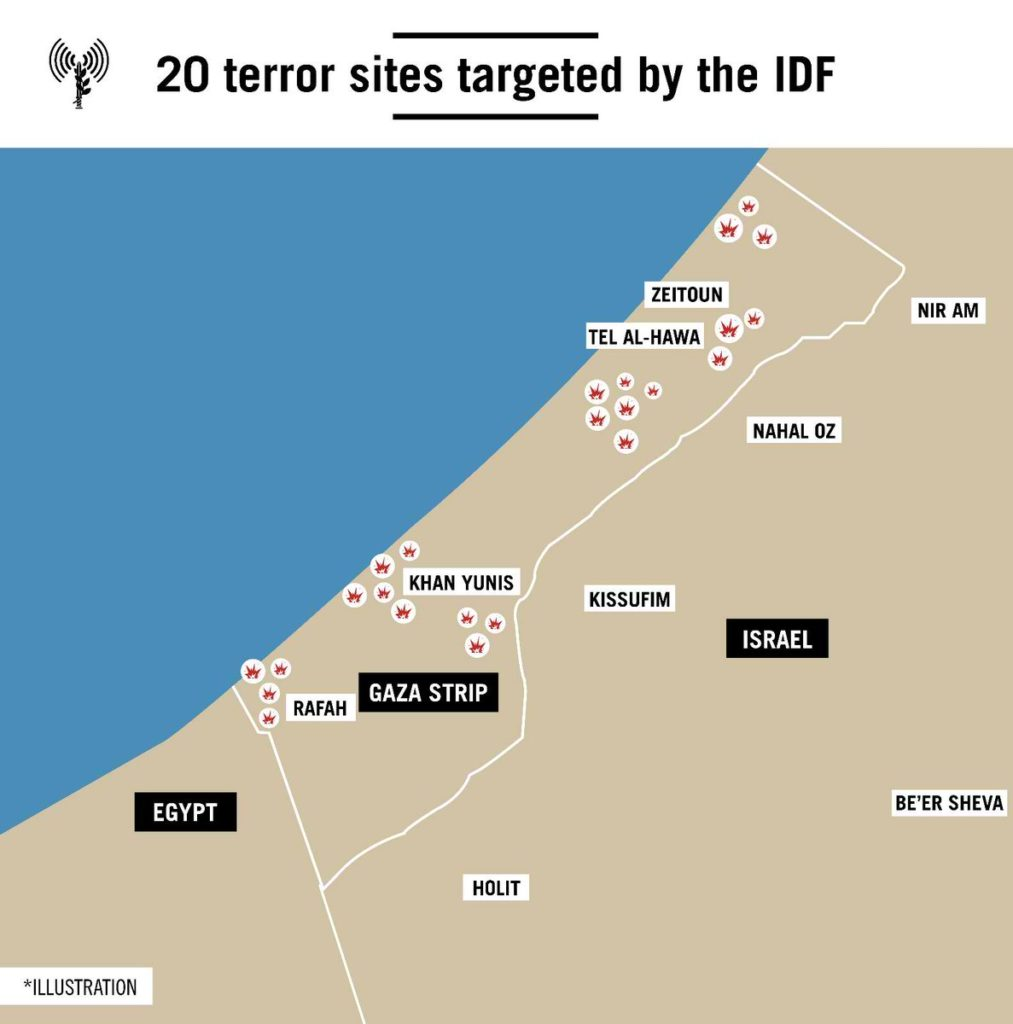 Israeli Air Force Has Carried Out Strikes On Over 20 Targets In Gaza Since Morning