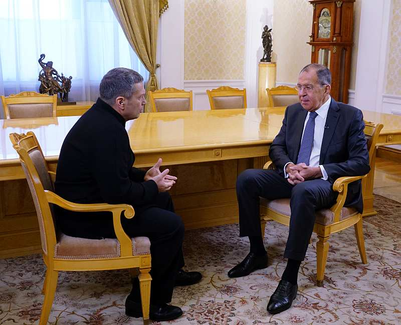 Foreign Minister Sergey Lavrov's interview with Moscow. Kremlin. Putin TV programme