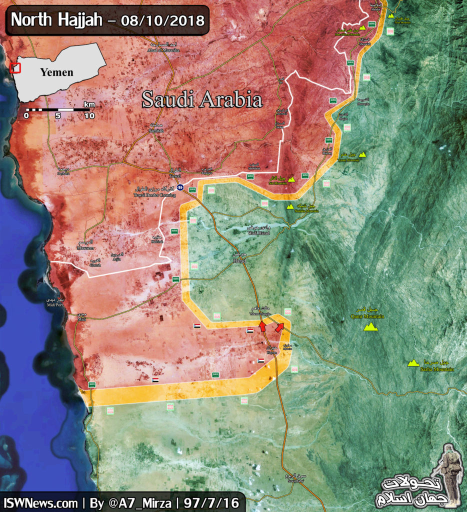 Saudi-led Coalition Working To Encircle Houthi-held Town Of Harad In Northwestern Yemen (Map)