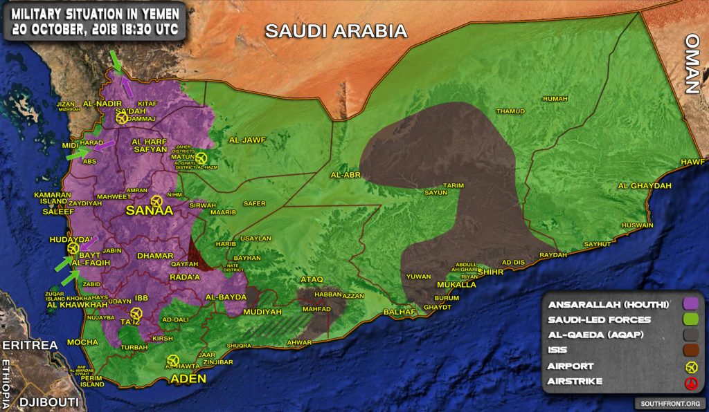 Map Update: Saudi-led Coalition Pressure Houthis In Western And Northern Yemen